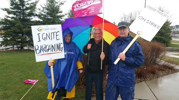 CUPE Ontario President, Fred Hahn representing us on OSSTF picket line.