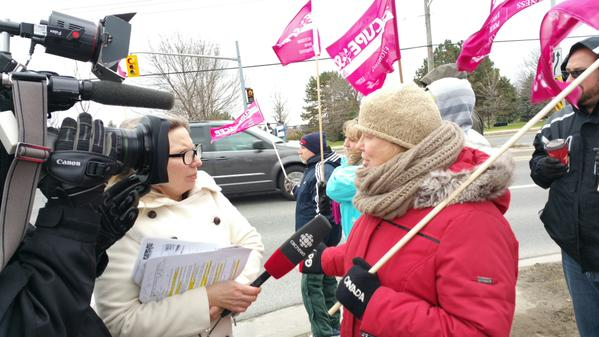 OSBCC Chair Walks the  Picket Line With OSSTF in Durham