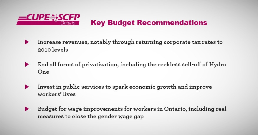 Key Budget Recommendations